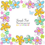 Colorful spring flowers frame vector greeting card Stock Photo