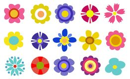Colorful spring flowers vector illustration Royalty Free Stock Image