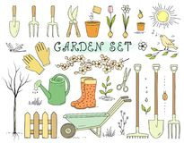 Colorful spring garden tools set Stock Photography