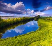 Colorful spring landscape on river Stock Image