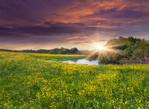 Colorful spring landscape on the siver stock images