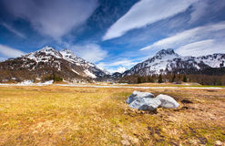 Colorful spring landscape in the Swiss Alps. Geolocation 46.396,9.694297 Stock Images