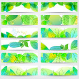 Colorful spring leaves banners Stock Photos