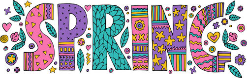 Colorful Spring lettering. With flowers and leaves. on white background.Quote design.Drawing for prints on t-shirts and bags or poster.Vector Royalty Free Stock Photography