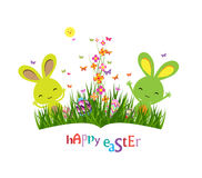 Colorful spring meadow, eggs and easter bunny Royalty Free Stock Images