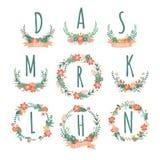 Colorful Spring monogram set Stock Image