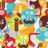 Colorful spring monsters seamless pattern. Royalty Free Stock Photo