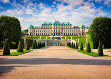 Colorful spring morning in famous Belvedere park. Built by Johann Lukas von Hildebrandt as a summer residence for Prince Eugene of Savoy. Sunny scene in Vienna royalty free stock images