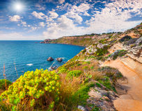 Colorful spring morning in the harbor and cape Milazzo Stock Photo