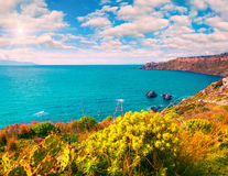 Colorful spring morning in the harbor and cape Milazzo Stock Photography