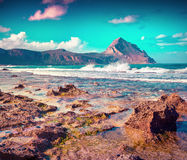 Colorful spring morning on the nature reserve Monte Cofano Royalty Free Stock Images