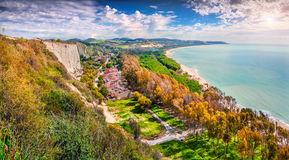 Colorful spring morning on the south coast of  Sicily Stock Images
