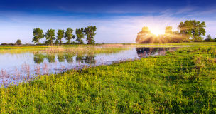 Colorful spring panorama on lake Royalty Free Stock Images