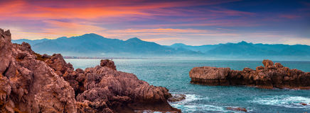 Colorful spring panorama of sunrise on the harbor Milazzo Stock Images