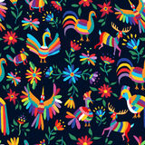 Colorful spring pattern of wild animal and flower Stock Images