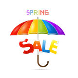 Colorful Spring Sale Umbrella. Colorful Spring Sale Background with Umbrella Stock Images