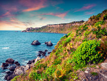 Colorful spring scene in the harbor and cape Milazzo Stock Photo