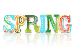 Colorful Spring Sign. A colorful spring sign over white with reflection royalty free stock photography