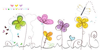 Colorful spring and summer time decorative floral abstract border vector background Stock Images