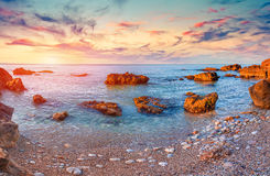 Colorful spring sunrise on the Mediterranean sea Royalty Free Stock Image
