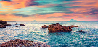 Colorful spring sunrise on the Mediterranean sea Royalty Free Stock Photo