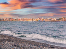 Colorful spring sunrise on the Milazzo town Royalty Free Stock Image