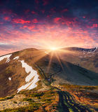 Colorful spring sunrise in mountains Royalty Free Stock Image