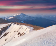 Colorful spring sunrise in the mountains. Stock Images