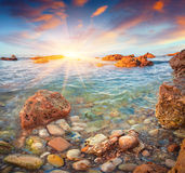 Colorful spring sunrise on the Tyrrhenian sea Royalty Free Stock Photo