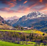 Colorful spring sunrise on the village of Saint Pau Royalty Free Stock Images