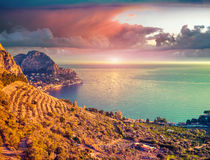 Colorful spring sunrise on the Zafferano cape Royalty Free Stock Photography