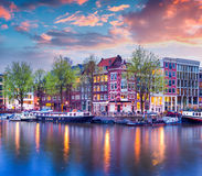 Colorful spring sunset on the canals of Amsterdam Stock Image