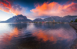 Colorful spring sunset in the Lecco Lake. Stock Photography