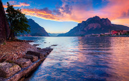 Colorful spring sunset in the Lecco Lake. Stock Photo
