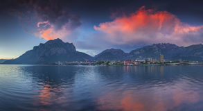 Colorful spring sunset in the Lecco Lake. Lecco Royalty Free Stock Photos