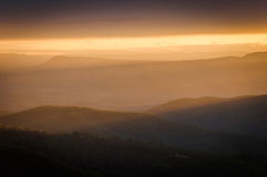 Colorful spring sunset over the Blue Ridge Mountains, seen from Stock Photo