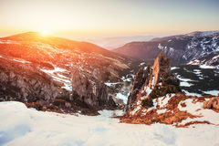 Colorful spring sunset over the mountain ranges in the national Royalty Free Stock Image