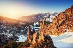 Colorful spring sunset over the mountain ranges in the national Stock Image