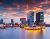 Colorful spring sunset of Rhein river at night in Dusseldorf Stock Photo