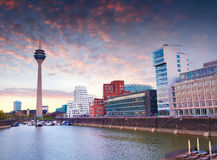 Colorful spring sunset of Rhein river at night in Dusseldorf Royalty Free Stock Images