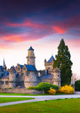 Colorful spring sunset in the Wilhelmshohe Castle Stock Photos