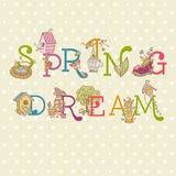 Colorful Spring Text Stock Images