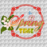 Colorful spring time scene background with blossom flowers Royalty Free Stock Images