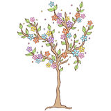 Colorful  spring tree on white background Stock Photo