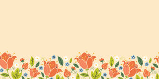 Colorful spring tulips horizontal seamless pattern Stock Photography