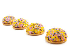 Colorful sprinkles pies Royalty Free Stock Images