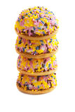Colorful sprinkles pies Stock Images
