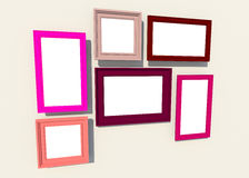 Colorful sqaure frames on the wall (3D) Royalty Free Stock Image