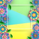 Colorful square background with bright flowers. vector illustration