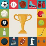 Colorful square background with set collection elements sport with cup trophy in center. Vector illustration Royalty Free Stock Image